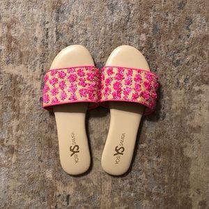 """Yosi Samra """"Reese"""" Creme and Pink Sandals"""